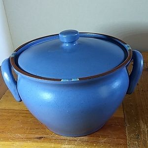 Dansk Mesa ceramic soup bean pot and lid, sky blue